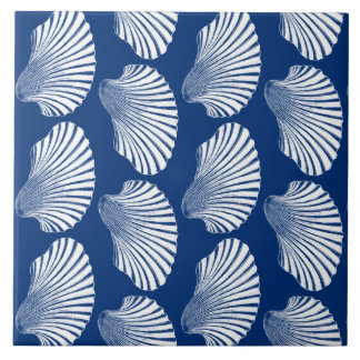 Scallop Shell Block Print, Navy Blue and White Tile