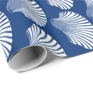 Scallop Shell Block Print, Navy Blue and White Wrapping Paper