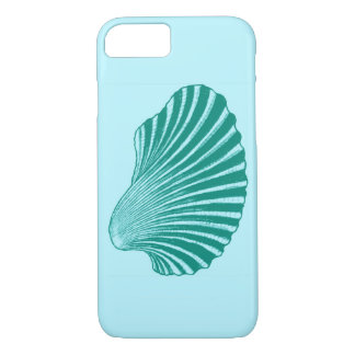 Scallop Shell Block Print, Turquoise and Aqua Case-Mate iPhone Case