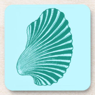 Scallop Shell Block Print, Turquoise and Aqua Coaster