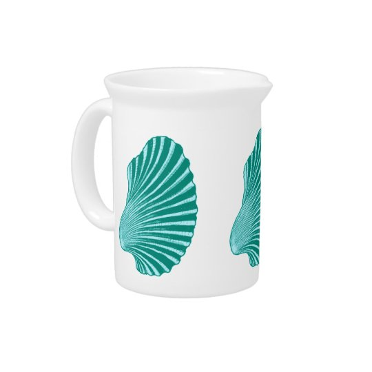 Scallop Shell Block Print, Turquoise and Aqua Drink Pitcher