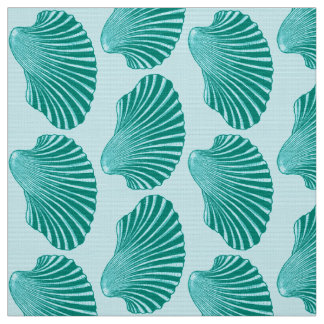 Scallop Shell Block Print, Turquoise and Aqua Fabric