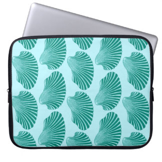 Scallop Shell Block Print, Turquoise and Aqua Laptop Sleeve