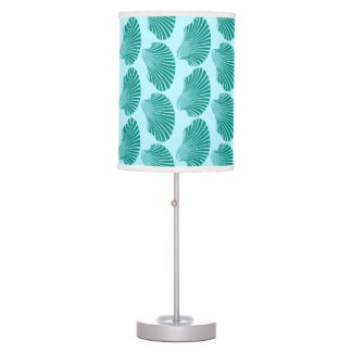Scallop Shell Block Print, Turquoise and Aqua Table Lamp
