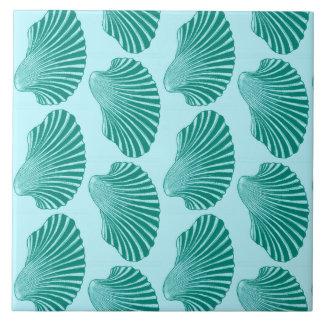 Scallop Shell Block Print, Turquoise and Aqua Tile