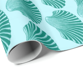 Scallop Shell Block Print, Turquoise and Aqua Wrapping Paper