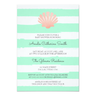Scallop Shell | Coral & Mint | Baby Shower Card