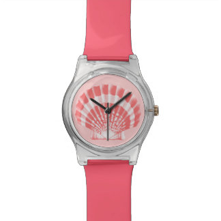 Scallop Shell - coral pink and white Watches