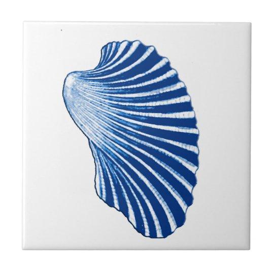 Scallop Shell, Indigo Blue and White Tile