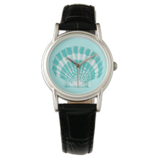 Scallop Shell - soft aqua and white Wristwatches