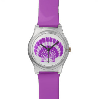 Scallop Shell - violet and white Wrist Watches