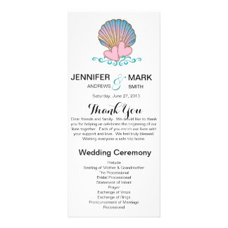 Scallop Shell - Wedding Program Personalized Rack Card