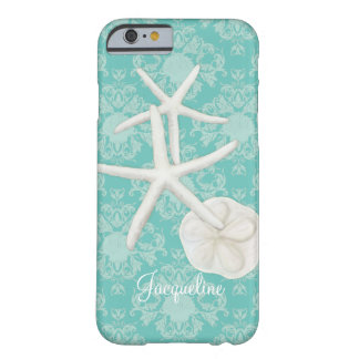 Scallop Starfish Damask Seashell Beach Pattern Barely There iPhone 6 Case