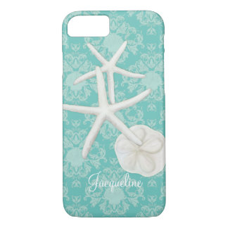 Scallop Starfish Damask Seashell Beach Pattern iPhone 7 Case