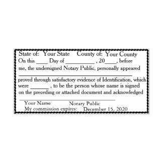 Scalloped Border Notary Public Acknowledgement Self-inking Stamp