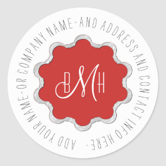 Scalloped Circle Monogram Any Color ID306 Classic Round Sticker