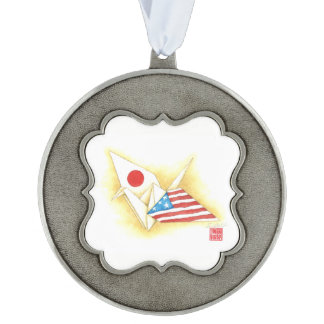 Scalloped Holiday Ornament ~ Japan-U.S. Friendship