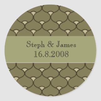 Scalloped personalised wedding stickers