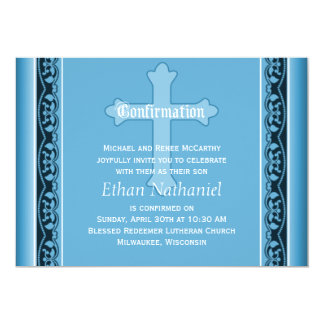 """Scalloped Vines with Cross Blue Confirmation 5"""" X 7"""" Invitation Card"""