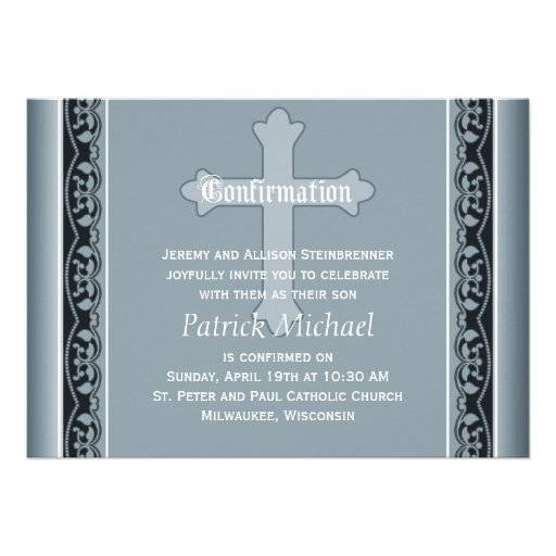 Scalloped Vines with Cross Elegant  Confirmation Card