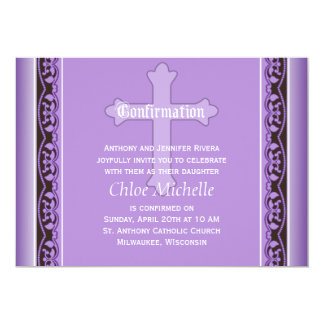 """Scalloped Vines with Cross Purple Confirmation 5"""" X 7"""" Invitation Card"""