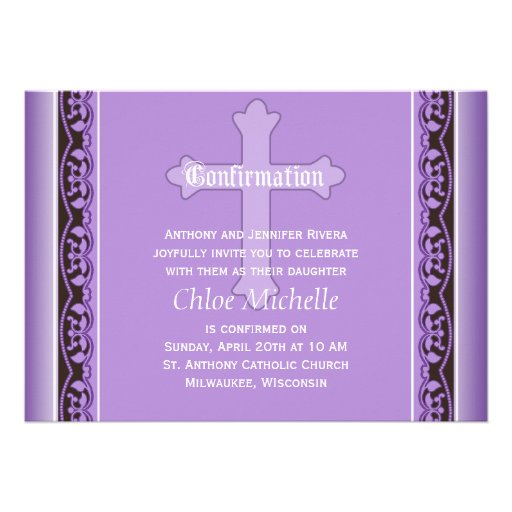 Scalloped Vines with Cross Purple Confirmation Invitations