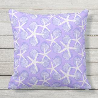 Scallops & Starfish in Purple & White Pattern Outdoor Pillow