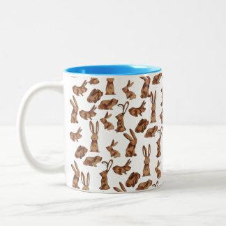 Scampering Rabbits Mug, Blue Two-Tone Coffee Mug