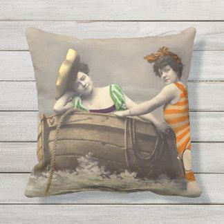 Scandalous Striped Bathing Suit Outdoor Pillow