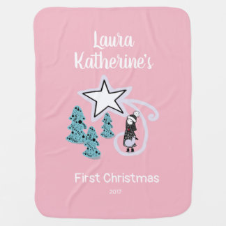 Scandi personalised First Christmas blanket