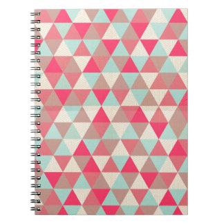 scandi pink, green and cream triangles notebooks