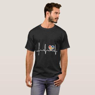 Scandinavia Country Flag Heartbeat Pride Tshirt