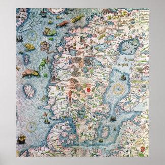 Scandinavia, detail from the Carta Marina Poster