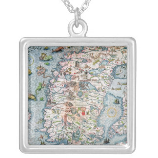 Scandinavia, detail from the Carta Marina Silver Plated Necklace