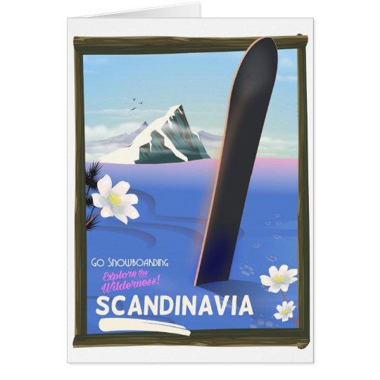 Scandinavia snowboard travel poster card