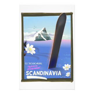Scandinavia snowboard travel poster stationery