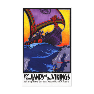 Scandinavia Vintage Travel Poster Restored Canvas Print