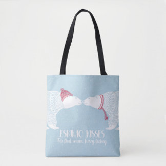 Scandinavian Bears WarEskimo Kiss Snow Winter Tote Bag