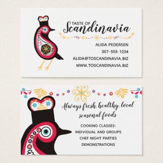 Scandinavian bird chef catering business card