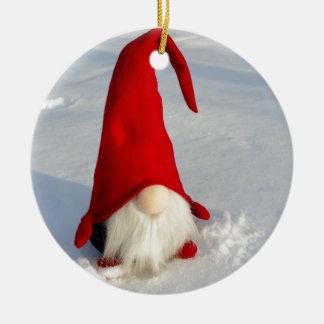 Scandinavian Christmas Gnome Ceramic Ornament