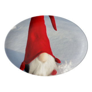 Scandinavian Christmas Gnome Porcelain Serving Platter