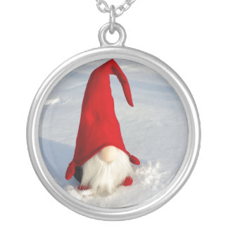 Scandinavian Christmas Gnome Silver Plated Necklace