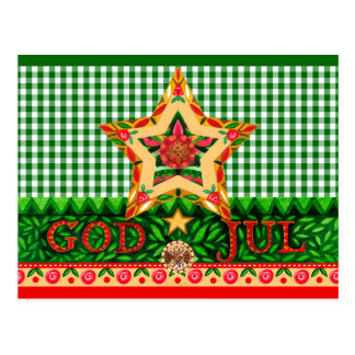 Scandinavian Christmas God Jul Greetings Postcard