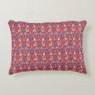 Scandinavian Christmas pattern, folk art red navy Decorative Pillow
