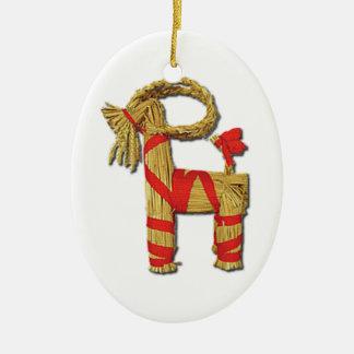 Scandinavian Christmas Straw Yule Goat Julbok Ceramic Oval Ornament