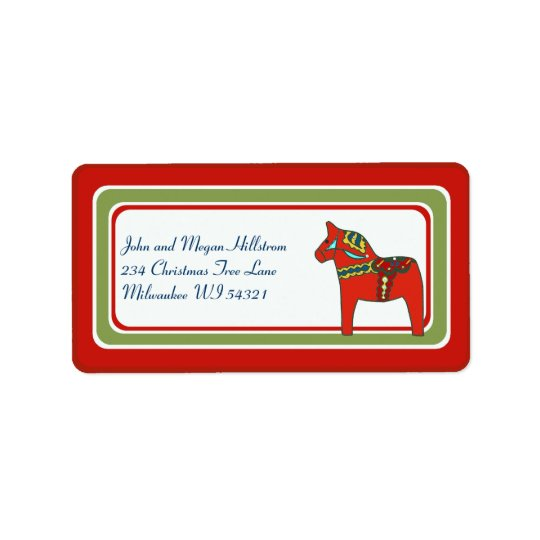 Scandinavian Dala Horse Swedish Custom Personalize Label