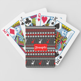 Scandinavian Deer Christmas Pattern Personalized Bicycle Playing Cards
