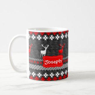 Scandinavian Deer Christmas Pattern Personalized Coffee Mug