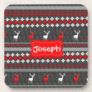 Scandinavian Deer Christmas Pattern Personalized Drink Coasters