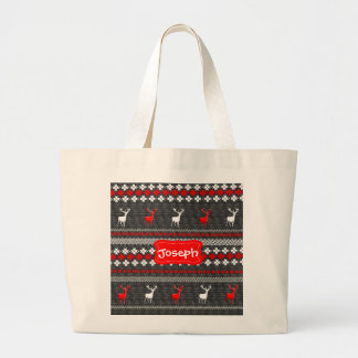 Scandinavian Deer Christmas Pattern Personalized Large Tote Bag